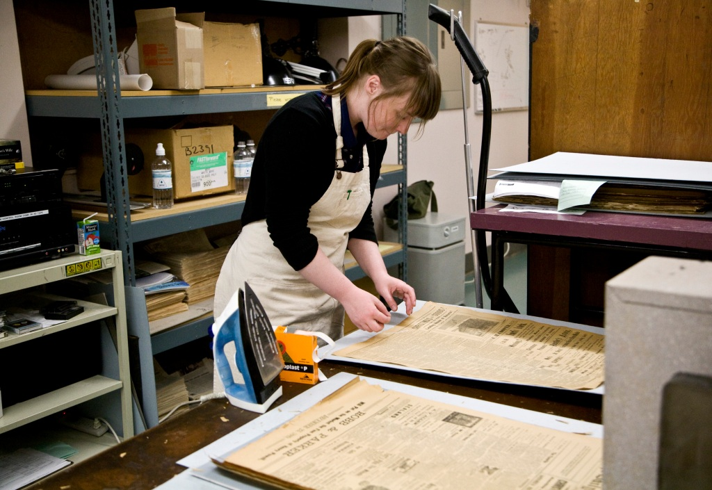 Heidi Scheidl in image services lab.