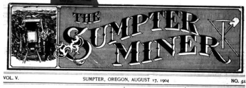 Masthead of the Sumpter Miner newspaper, Sumpter, Oregon
