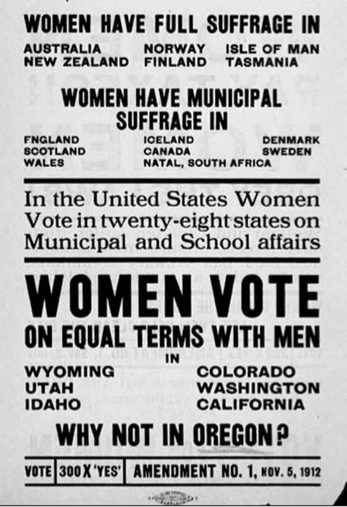 Political poster from 1912 campaign for woman's suffrage in Oregon.