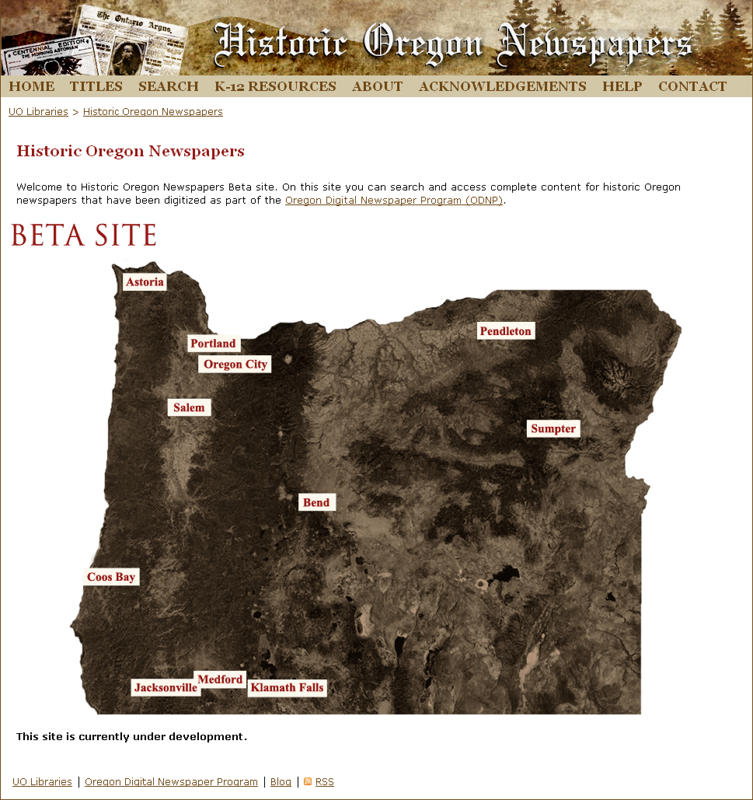 fp Historic Oregon Newspapers web site, beta version