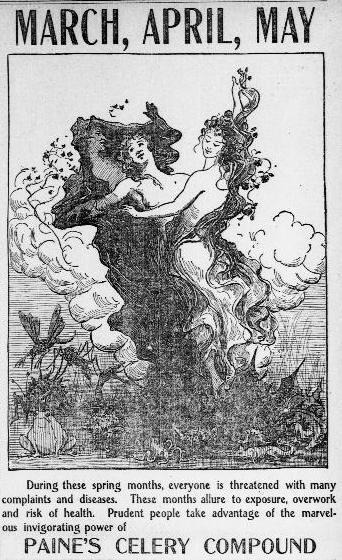Art Nouveau illustration of three nymphs