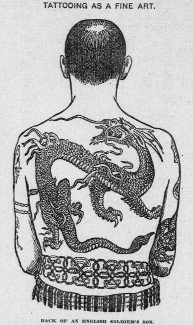 1900 illustration of man w/ backpiece tattoos in traditional Japanese motifs