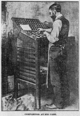 photo of 19th century type-setter at his case of type