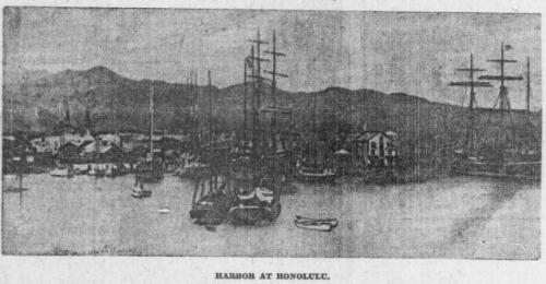 1904 photo of sailing ships in Honolulu Harbor