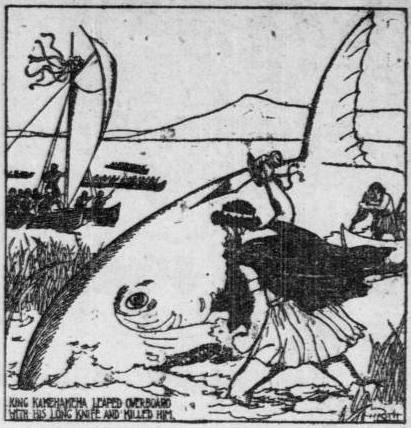 1905 newspaper illustration of Hawaiian King Kamehaha shark hunting