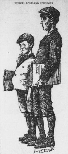 illustration of pair of newsboys selling papers on street