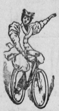 1895 illustration of woman riding bicycle