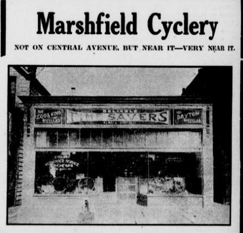 storefront of 1913 cycle shop in Marshfield, OR