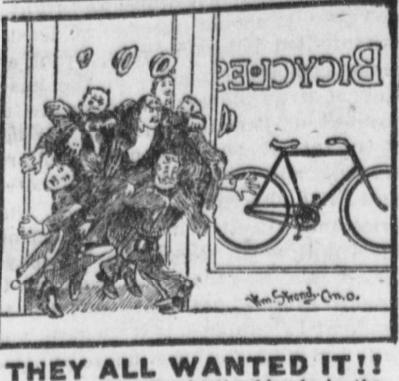 cartoon from 1899 advertisement; men jostling as they rush into bike shop