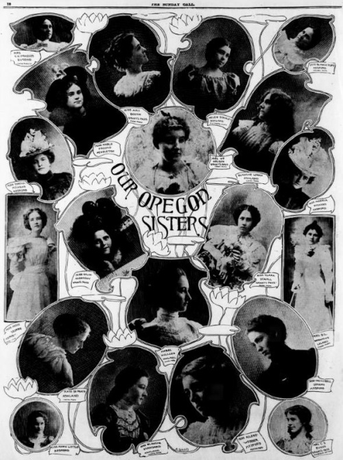 A newspaper page from The San Francisco Call, March 25, 1900, featuring images of women from Oregon.