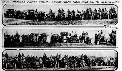 Images of several old style automobiles lined up, with people in and around them. Caption reads: 33 Automobiles Convey Visiting Geographers from Medford to Crater Lake.