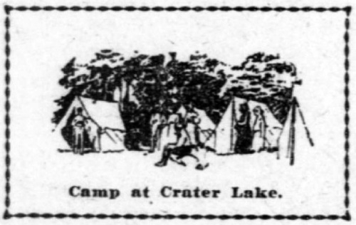Drawing of three tents with people standing around. Caption reads: Camping at Crater Lake.