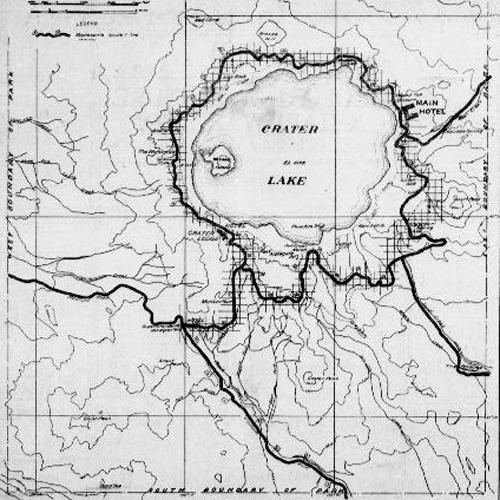 Birds eye view map of Crater Lake.