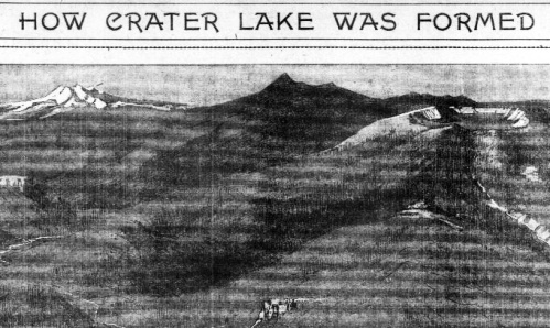 Image of mountains, one with a crater at the top, with test stating: How Crater Lake was formed.