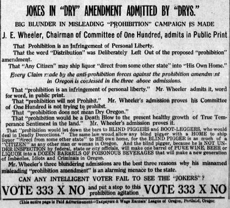 This newspaper clip points out a mistake that was made in the prohibition campain.