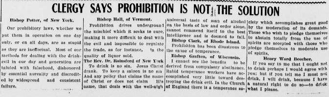 Members of the clergy offer their opinions on prohibition laws.
