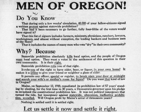 Newspaper ad encouraging male voters to vote against prohibition laws.