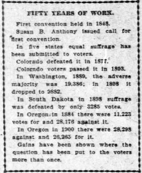 "Newspaper clipping reads: ""Fifty Years of Work. First convention held in 1848. Susan B. Anthony issued call for first convention. In five states equal suffrage has been submitted to voters. Colorado defeated it in 1871. Colorado voters passed it in 1893. In Washington, 1889, the adverse majority was 19,386; in 1898 it dropped to 2882. In South Dakota in 1893 suffrage was defeated by only 3285 votes. In Oregon in 1884 there were 11,223 votes for and 28,176 against it. In Oregon in 1900 there were 28,298 against and 26, 263 for it. Gains have been shown where the question has been put to the voters more than once."""