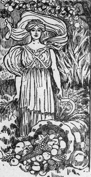 Drawing of a woman in roman style dress with a cornucopia at her feet.