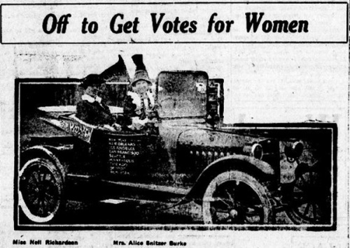 "Newspaper clipping features a photograph of two women in an automobile with text that reads, ""Off to get votes for women!"""