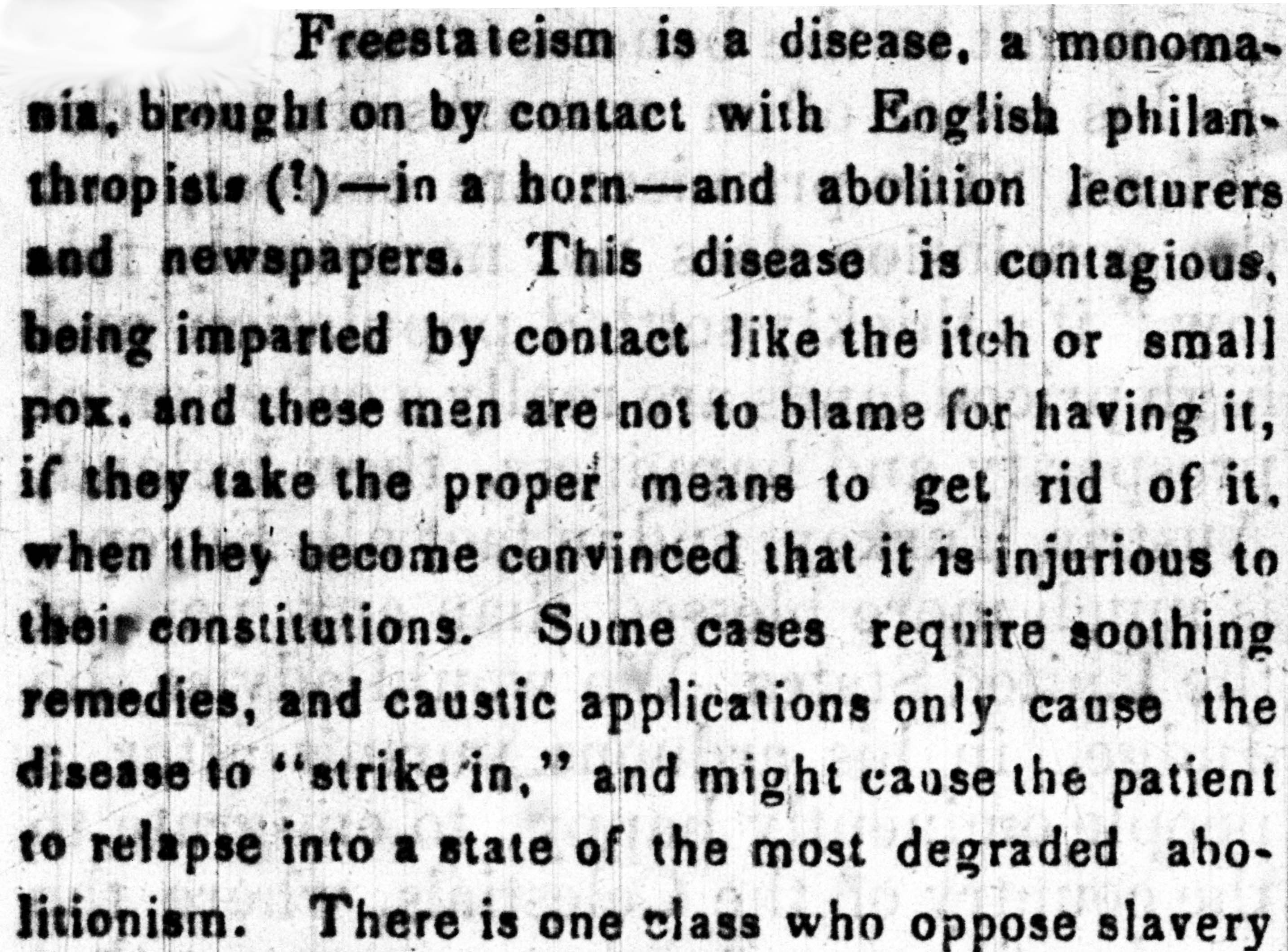 An excerpt from an article that describes abolitionism as a disease.