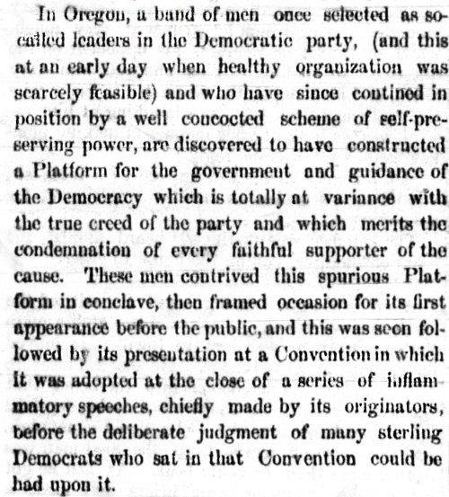 An article detailing the split in Oregon's Democratic Party in the late 1850s.