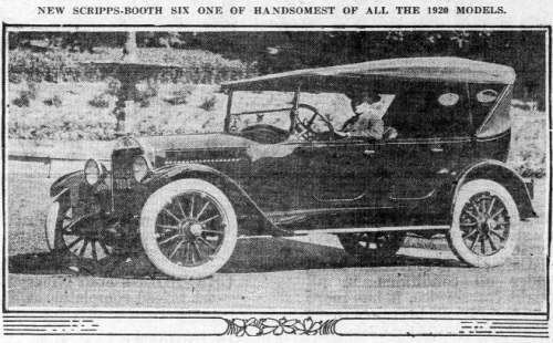 """Image of a car from 1920 with text that reads: """"New Scripps-Booth Six one of handsomest of all the 1920 models."""""""