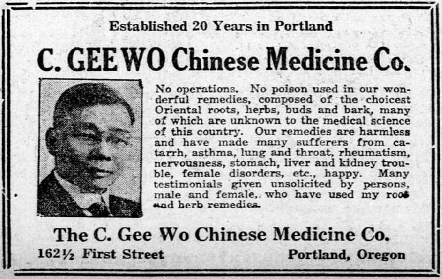 Advertisement for C. Gee Wo Chinese Medicine Co.