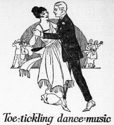 "Drawing of a woman and man dancing together with caption that reads, ""Toe-tickling dance music."""