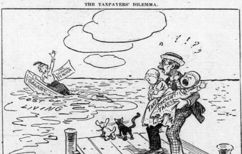 """Political cartoon depicts a man standing on a dock holding two crying babies that represent """"current taxes,"""" while a woman school teacher in a sinking boat labeled """"salary"""" is calling for help. The water into which the boat is sinking represents the """"cost of living."""" The man holding the babies is shocked and troubled and doesn't know what to do. Caption reads, """"The taxpayer's dilemma."""""""