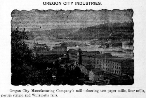 "Photograph looking down on the Willamette river valley and several industrail buildings with caption that reads: ""Oregon City Manufacturing Company's Mill - showing two paper mills, flour mills, electric station and Willamette falls."""