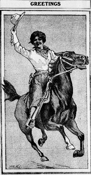 "Image from the East Oregonian newspaper depicts a woman in rodeo dress riding a horse. Caption says ""Greetings."""