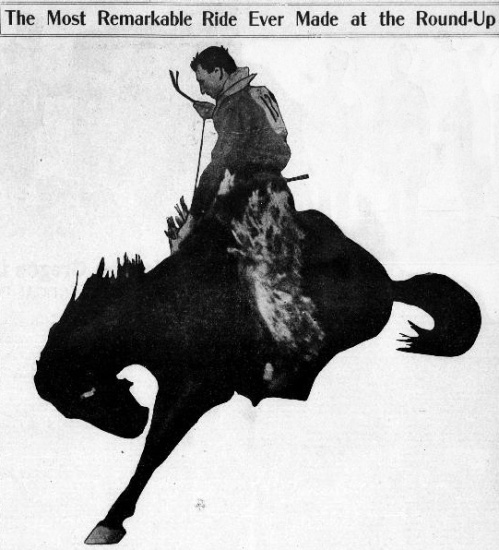 "An image of a cowboy riding a bucking bronco with caption that states: ""The most remarkable ride ever made at the round-up."""