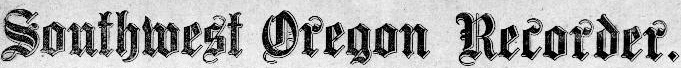 Southwest Oregon Recorder masthead