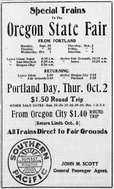 Advertisement from the Oregon City Courier announces special trains to the Oregon State Fair, for $1.50 roundtrip from Oregon City to Portland via the Southern Pacific railroad. John M. Scott, General Passenger Agent.
