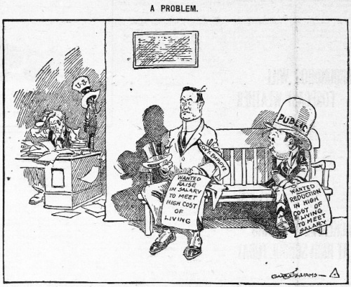 """Political cartoon from the Morning Enterprise depicts two men seated outside of Uncle Sam's office. One of the men wears a tag that says """"Government employee,"""" and a note that says, """"Wanted: raise in salary to meet high cost of living."""" The other man is wearing a hat that says, """"Public,"""" with a note that reads: """"Wanted: reduction in high cost of living to meet salary."""" Meanwhile, Uncle Sam appears to be stressed out and hard at work in his office."""