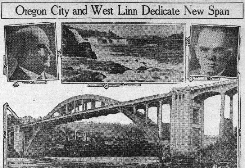 """Clip from the Banner-Courier shows photos of the mayors of Oregon City and West Linn, the suspension bridge between Oregon City and West Linn, as well as the falls north of the bridge, under a headline that reads: """"Oregon City and West Linn Dedicate New Span"""""""