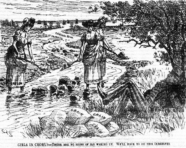 "Image from the Illustrated West Shore depicts, in political cartoon fashion, Uncle Sam sleeping under a tree next to the Columbia River, with a stack of grain sacks nearby as if preparing for a flood. Three women standing in the river with shovels are indicated as representing Oregon and Washington. Caption reads: ""Girls in chorus - There are no signs of his waking up. We'll have to do this ourselves."""