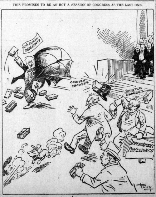 "Political cartoon depicts several men, apparently members of Congress, throwing bricks at each other, using umbrellas as shields, and running around in a flurry. Bricks are labeled with words such as ""charges,"" ""impeachment proceedings,"" ""counter charges,"" ""General Daugherty."" Caption reads: ""This promises to be as hot a session of congress as the last one."""
