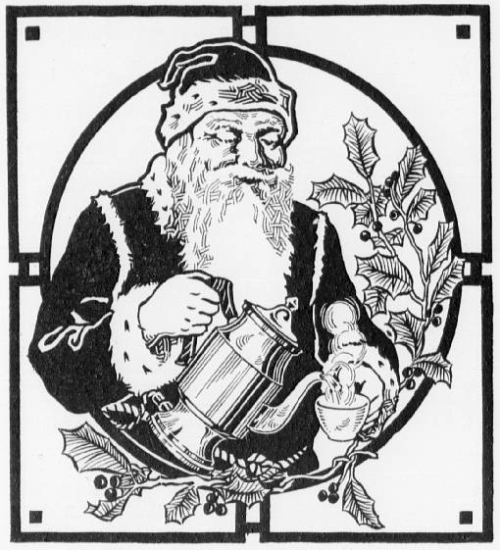 Drawing of Santa Claus smiling while pouring hot water into a teacup, surrounded by decorative holly plants.