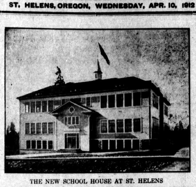 "Image from page one of the Oregon Mist - a photograph of a schoolhouse building with caption that reads: ""The New School House at St. Helens."""