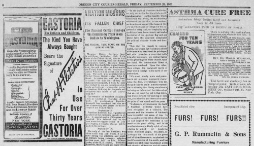 Clipping shows a brief mention of the assassination of President McKinley, on page six between advertisements for Castoria and Furs.