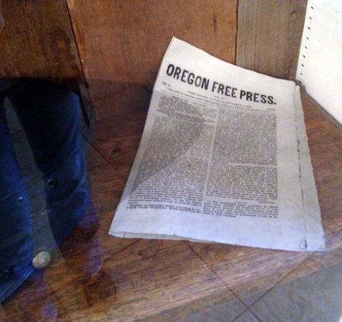 Photo shows a close up of the Oregon Free Press replica paper.