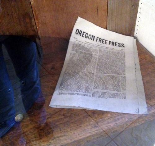 Photo shows a close up of the Oregon Free Press replica paper.