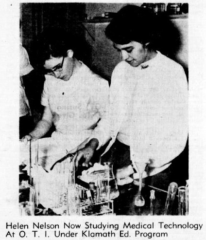 """Photo of two young women working with test tubes and other scientific equipment, with caption that reads: """"Helen Nelson Now Studying Medical Technology At O.T.I. Under Klamath Education Program."""""""