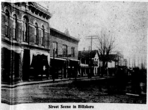 "Photo of a street, with caption: ""street scene in Hillsboro"""