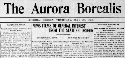 Clipping shows masthead from the Aurora Borealis