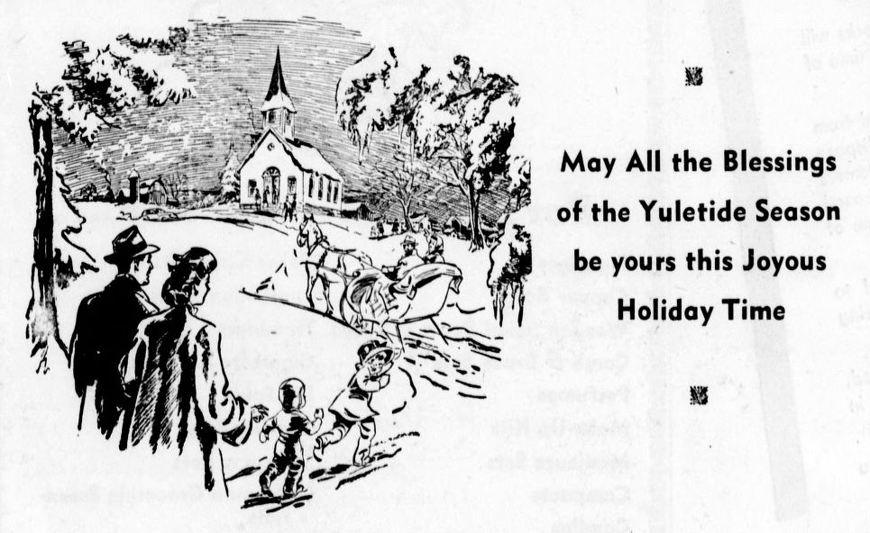"Clipping from the Heppner Gazette-times shows an illustrated winter scene of a family walking and riding a horse-drawn carriage through the snow fallen landscape, with text that reads ""May All the Blessings of the Yuletide Season be Yours the Joyous Holiday Time."""