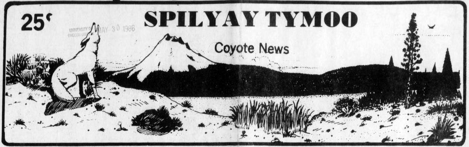 Masthead from the Spilyay Tymoo shows an illustration of a desert mountain scene with a coyote howling.