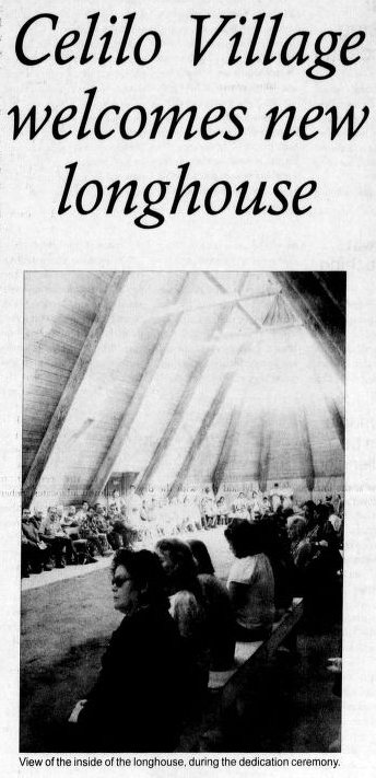 "Clipping shows a photograph of several people sitting inside a longhouse structure, with test that reads: ""Celilo Village welcomes new longhouse"""